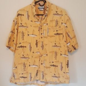 Yellow fly fishing print shirt